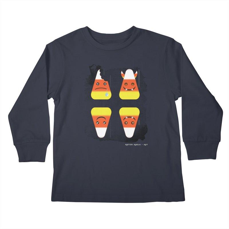 4 Candy Corns Kids Longsleeve T-Shirt by AntonAbela-Art's Artist Shop