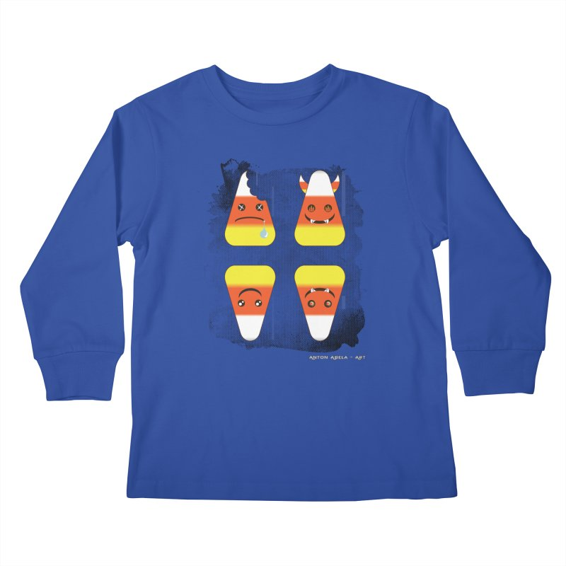 4 Candy Corns Kids Longsleeve T-Shirt by AntonAbela-Art's Artist Shop