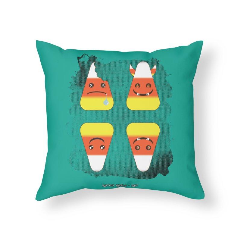 4 Candy Corns Home Throw Pillow by AntonAbela-Art's Artist Shop