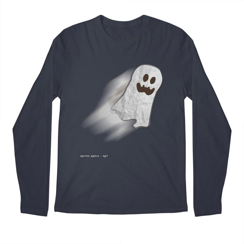Candy Ghost in Men's Regular Longsleeve T-Shirt Midnight by AntonAbela-Art's Artist Shop
