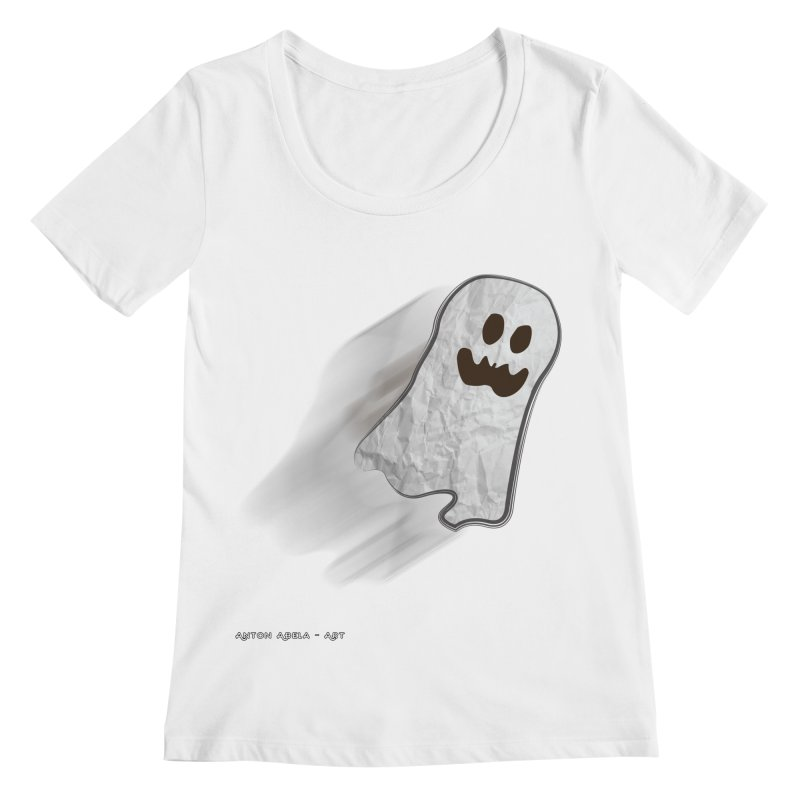 Candy Ghost Women's Regular Scoop Neck by AntonAbela-Art's Artist Shop