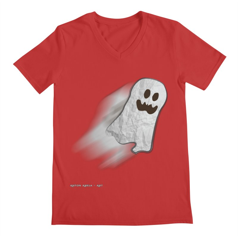 Candy Ghost Men's Regular V-Neck by AntonAbela-Art's Artist Shop