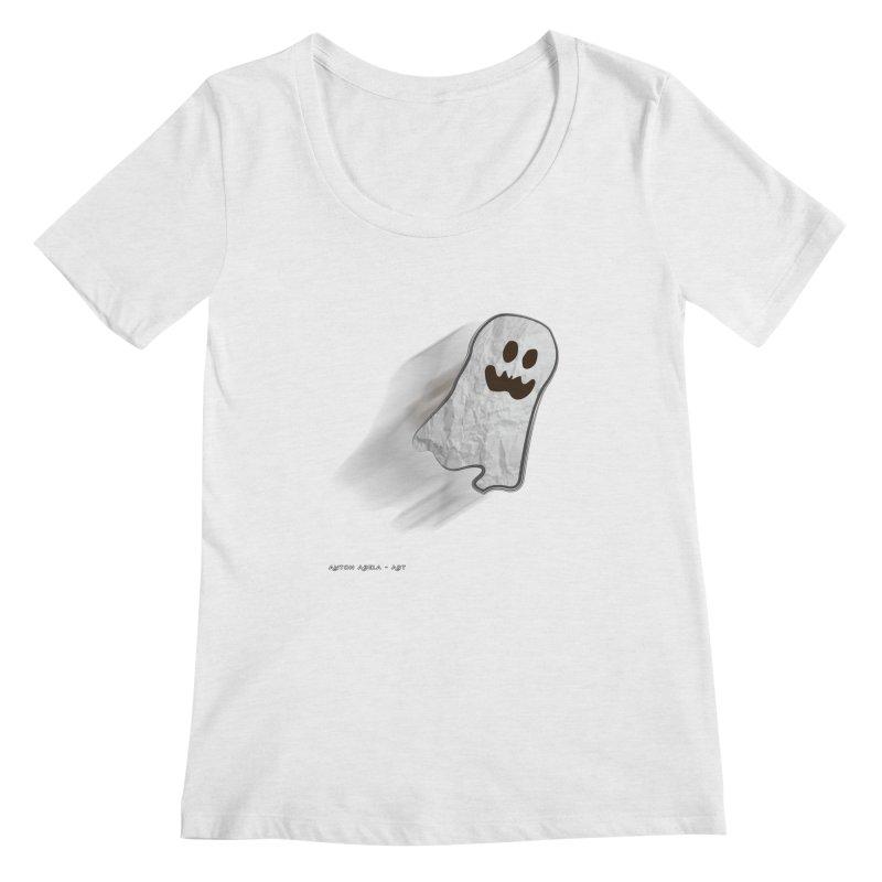 Candy Ghost Women's Regular Scoop Neck by AntonAbela-Art's Artist Shop
