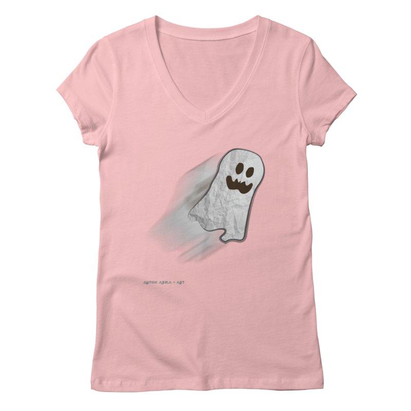 Candy Ghost Women's V-Neck by AntonAbela-Art's Artist Shop