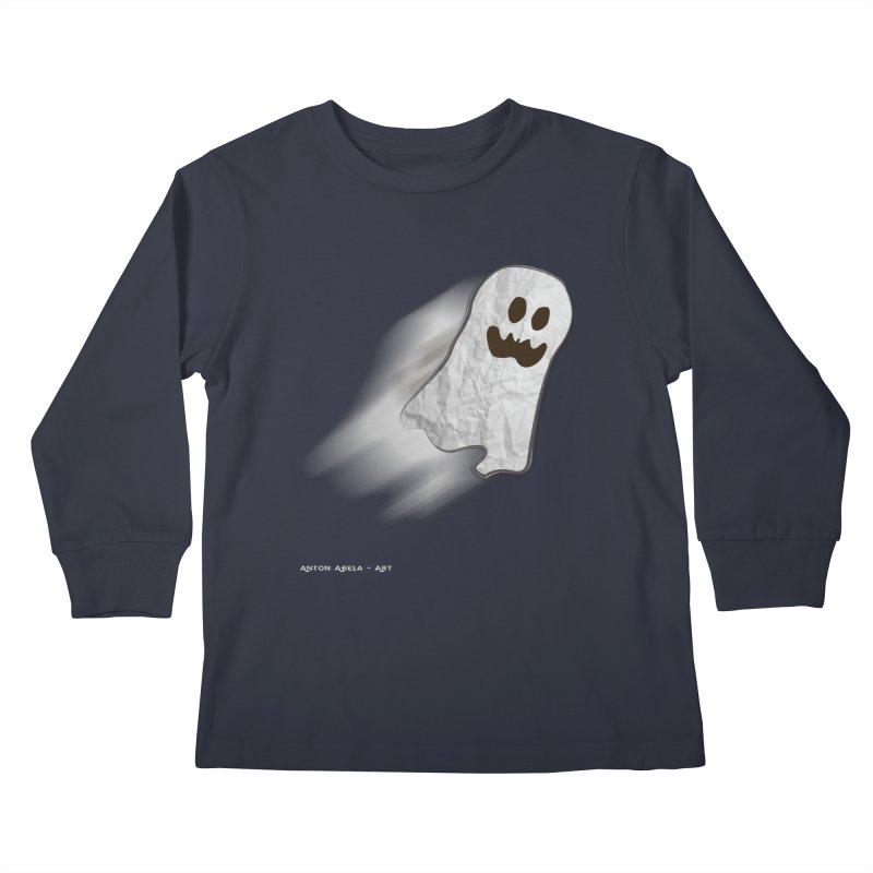 Candy Ghost Kids Longsleeve T-Shirt by AntonAbela-Art's Artist Shop
