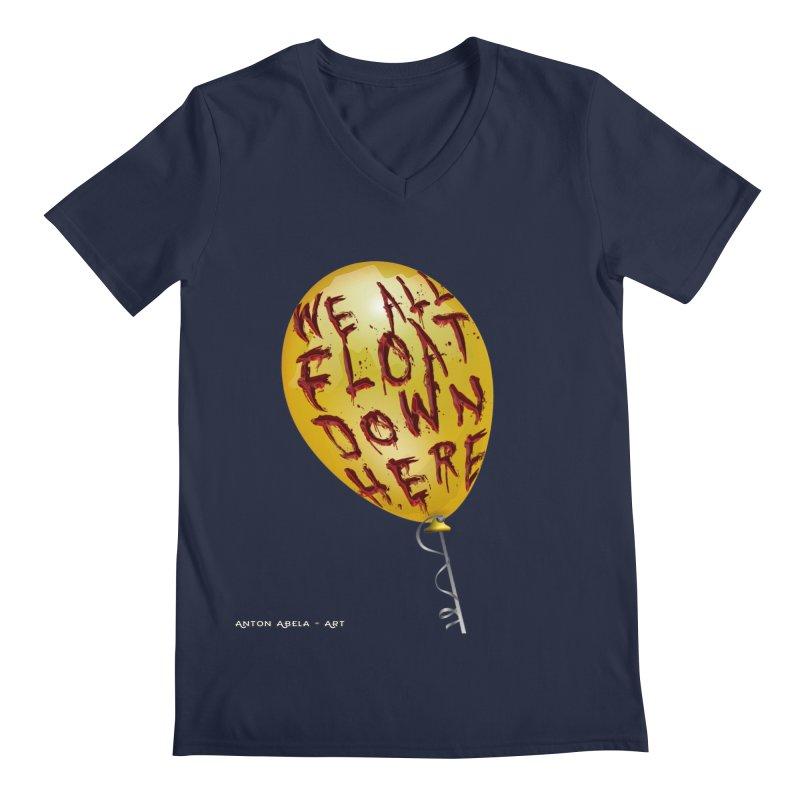 We All Float Down Here!  Men's Regular V-Neck by AntonAbela-Art's Artist Shop