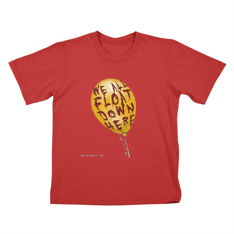 We All Float Down Here!  Kids T-Shirt by AntonAbela-Art's Artist Shop