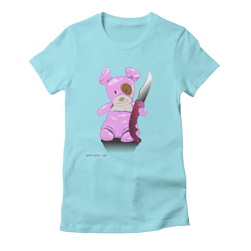 Doggies' Angel Women's Fitted T-Shirt by AntonAbela-Art's Artist Shop