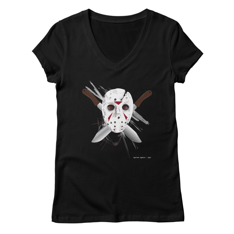 Jason Voorhees Women's V-Neck by AntonAbela-Art's Artist Shop