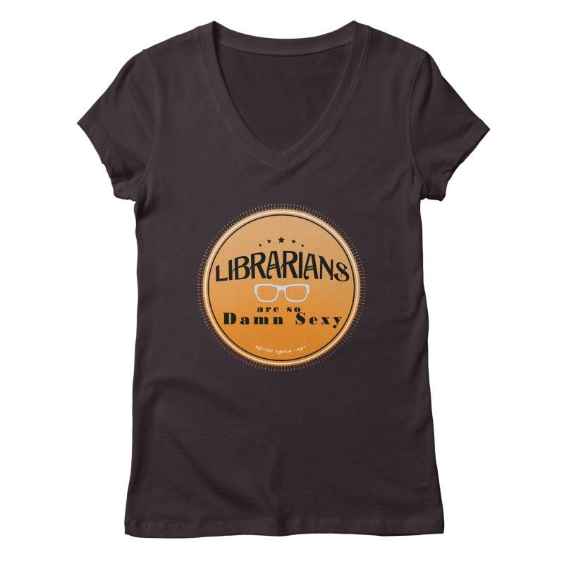 Librarians are... Women's V-Neck by AntonAbela-Art's Artist Shop