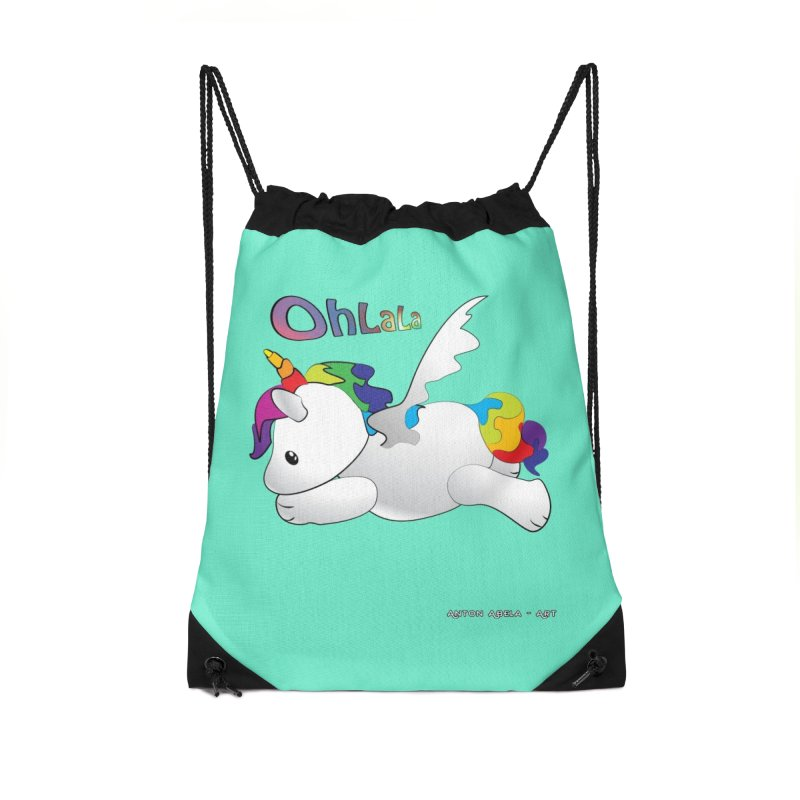 Wee'lil Unicorn Accessories Drawstring Bag Bag by AntonAbela-Art's Artist Shop