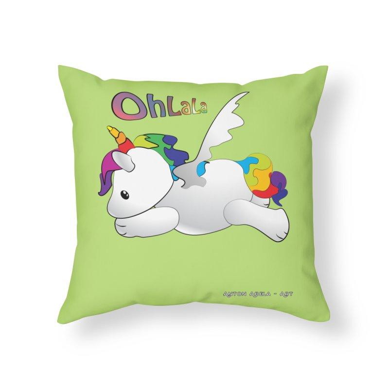 Wee'lil Unicorn Home Throw Pillow by AntonAbela-Art's Artist Shop