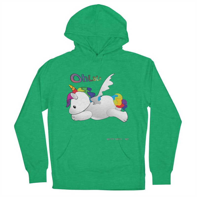 Wee'lil Unicorn Men's French Terry Pullover Hoody by AntonAbela-Art's Artist Shop