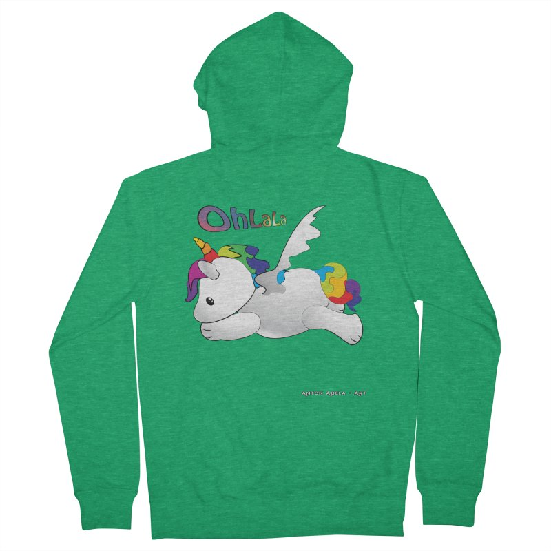 Wee'lil Unicorn Women's French Terry Zip-Up Hoody by AntonAbela-Art's Artist Shop