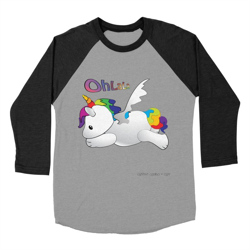 Wee'lil Unicorn Women's Baseball Triblend Longsleeve T-Shirt by AntonAbela-Art's Artist Shop