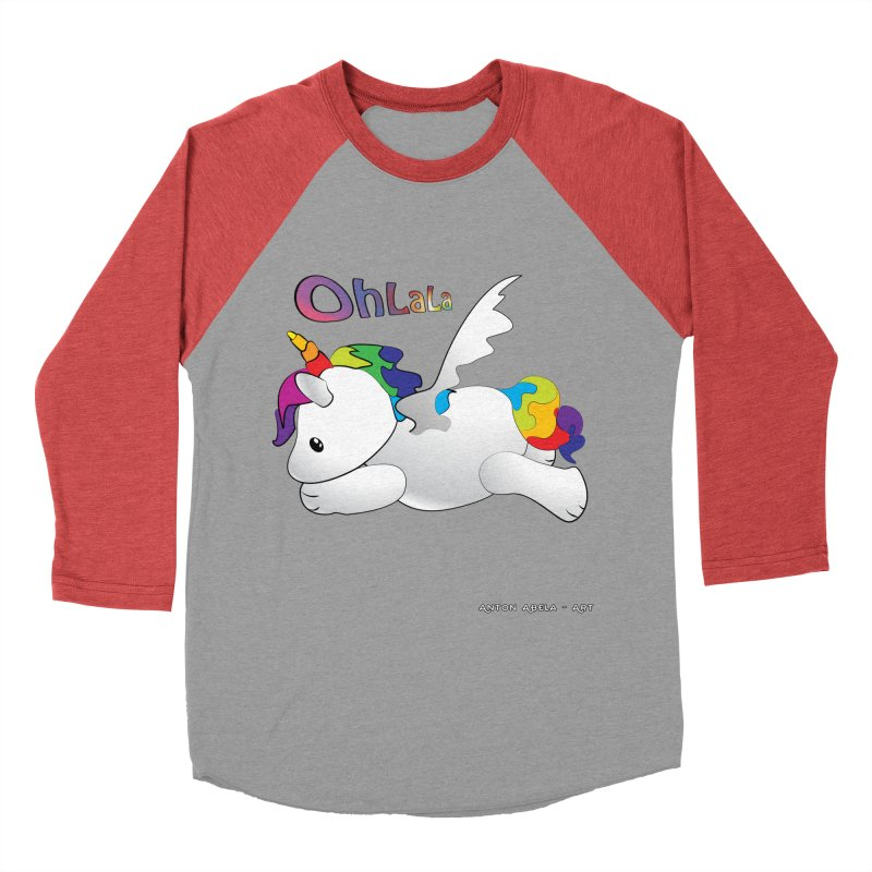 Wee'lil Unicorn Men's Baseball Triblend Longsleeve T-Shirt by AntonAbela-Art's Artist Shop