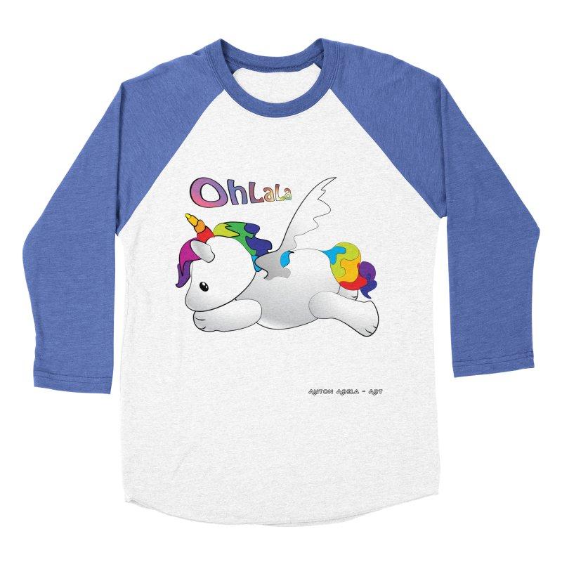 Wee'lil Unicorn Men's Baseball Triblend Longsleeve T-Shirt by AntonAbela-Art's Artist Shop
