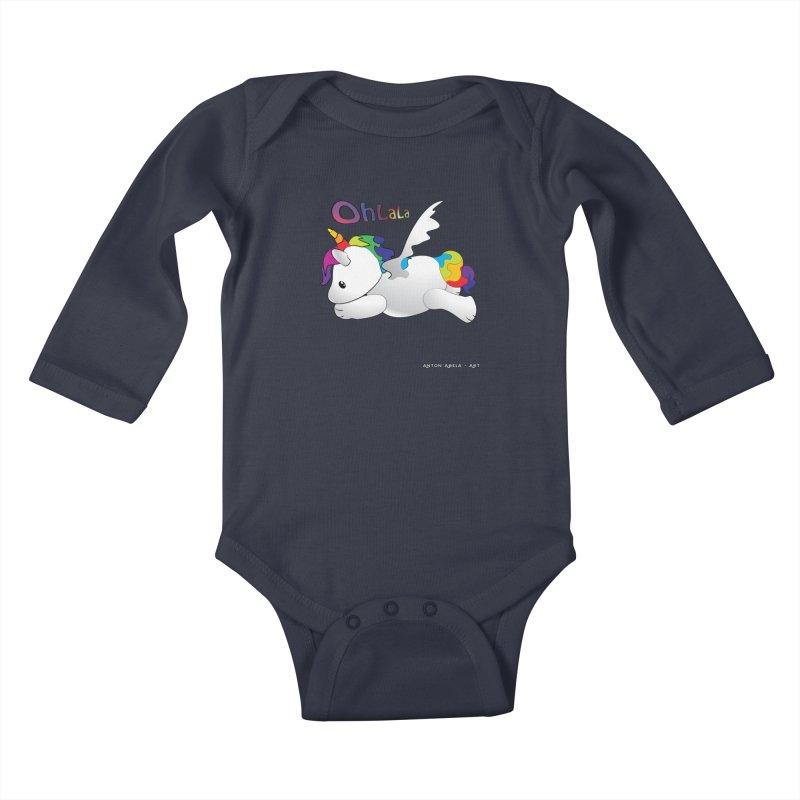 Wee'lil Unicorn Kids Baby Longsleeve Bodysuit by AntonAbela-Art's Artist Shop