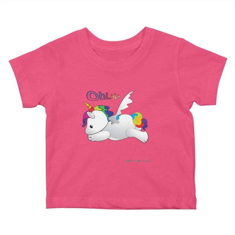 Wee'lil Unicorn Kids Baby T-Shirt by AntonAbela-Art's Artist Shop