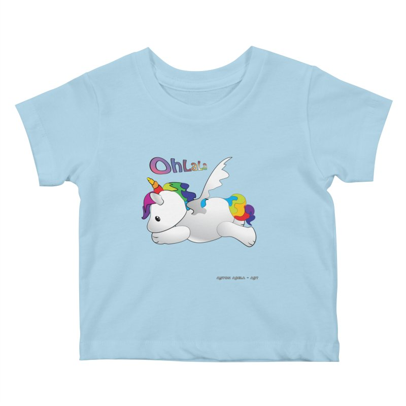 Wee'lil Unicorn Kids Baby T-Shirt by AntonAbela-Art's Artist Shop