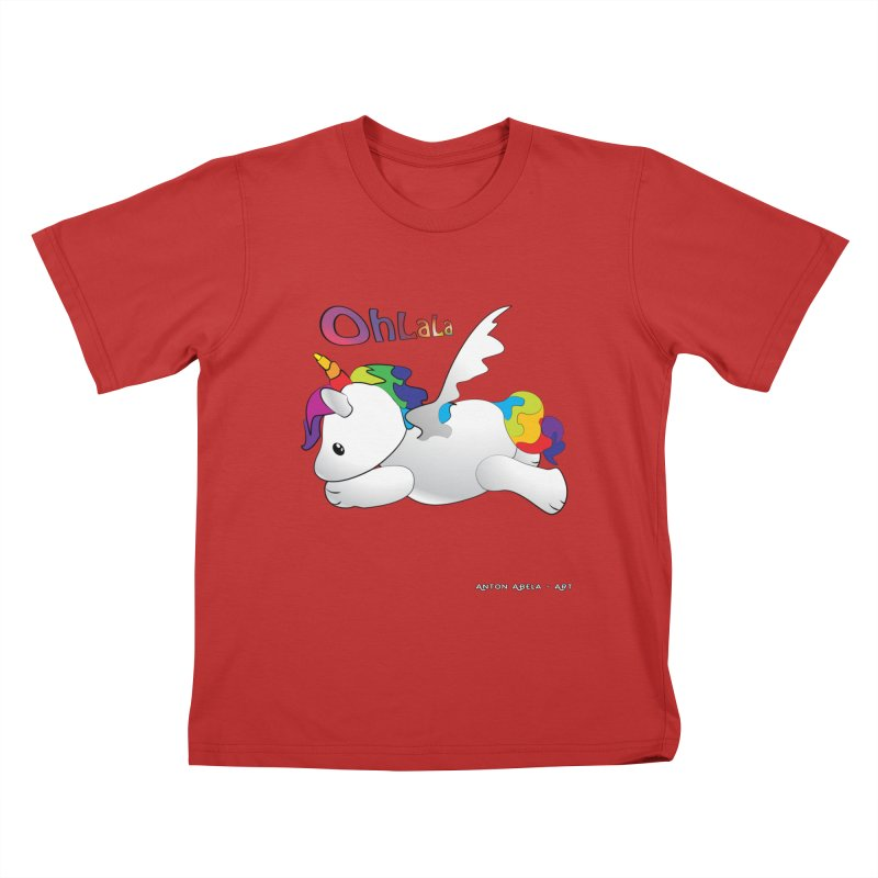 Wee'lil Unicorn Kids T-Shirt by AntonAbela-Art's Artist Shop