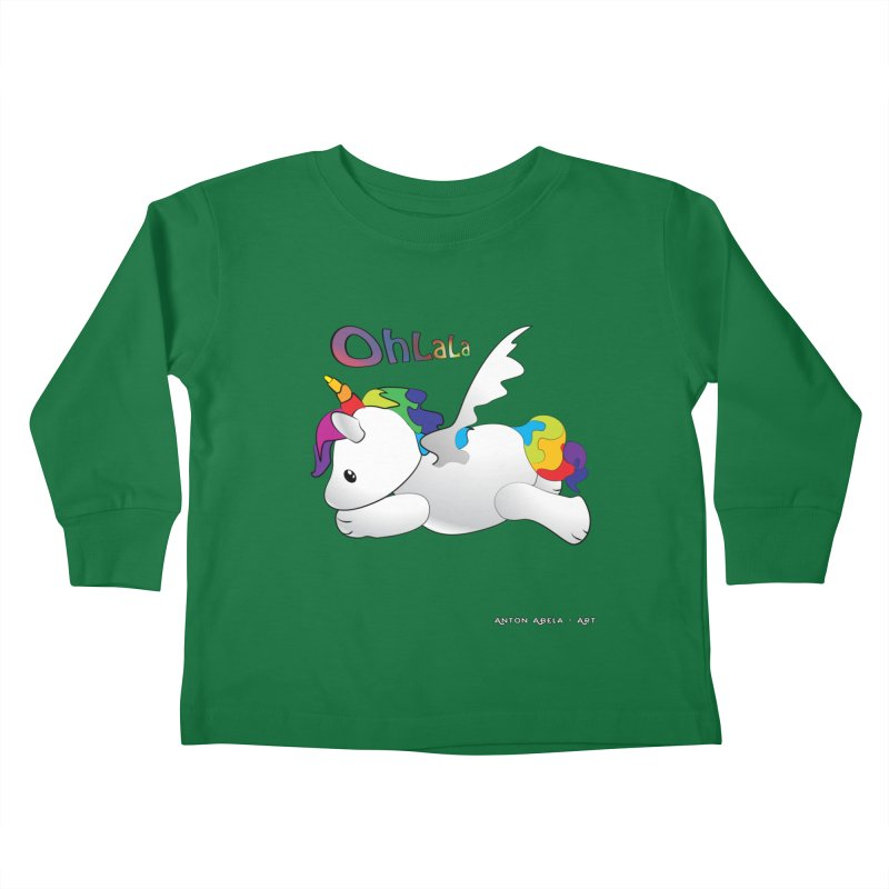 Wee'lil Unicorn Kids Toddler Longsleeve T-Shirt by AntonAbela-Art's Artist Shop