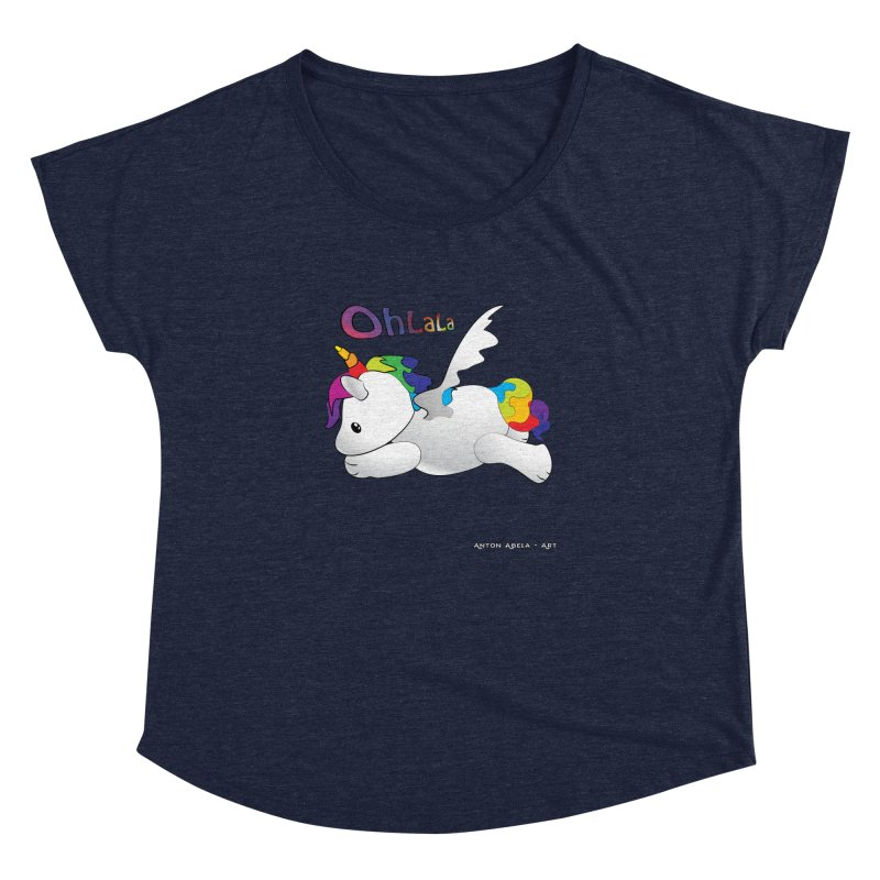 Wee'lil Unicorn Women's Dolman Scoop Neck by AntonAbela-Art's Artist Shop