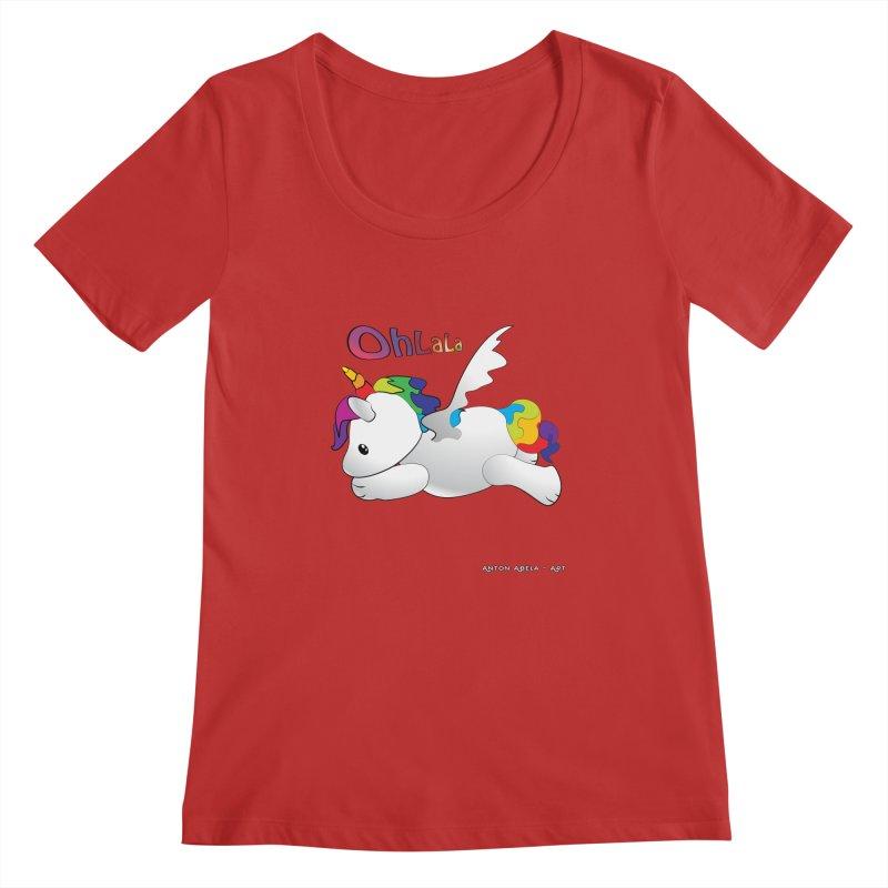 Wee'lil Unicorn Women's Regular Scoop Neck by AntonAbela-Art's Artist Shop