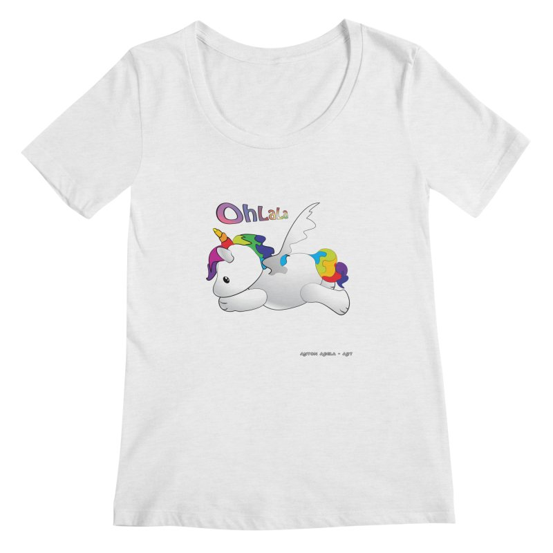 Wee'lil Unicorn Women's Regular Scoop Neck by AntonAbela-Art's Artist Shop