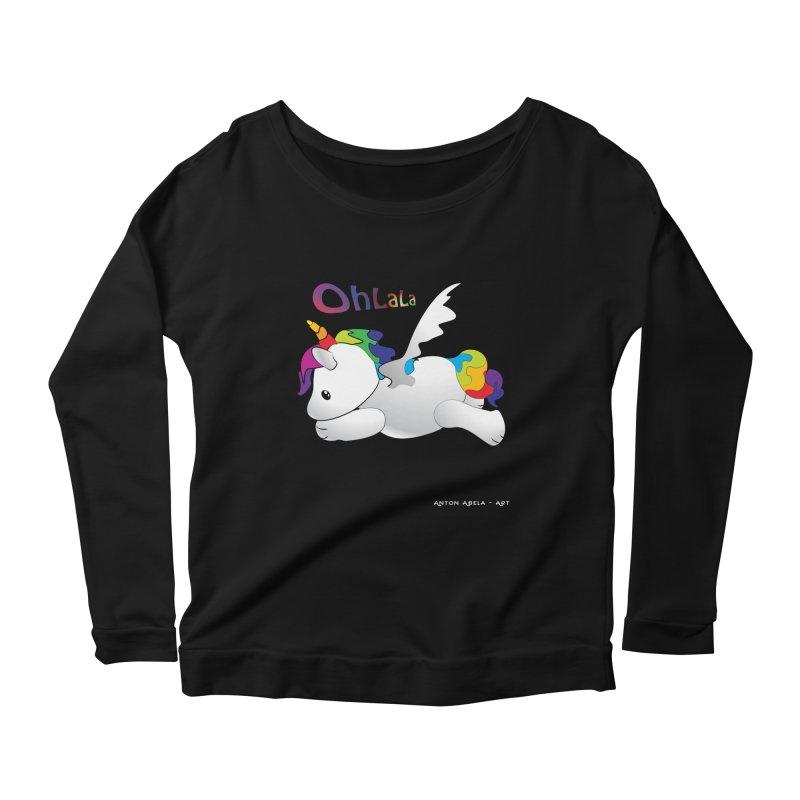 Wee'lil Unicorn Women's Scoop Neck Longsleeve T-Shirt by AntonAbela-Art's Artist Shop