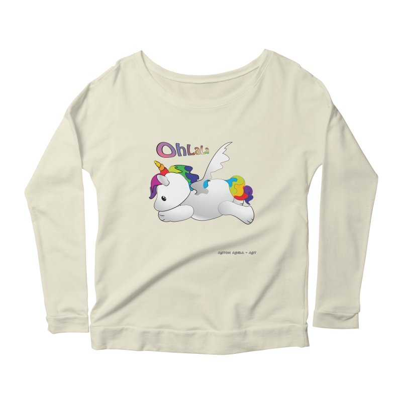 Wee'lil Unicorn Women's Scoop Neck Longsleeve T-Shirt by AntonAbela-Art's Artist Shop