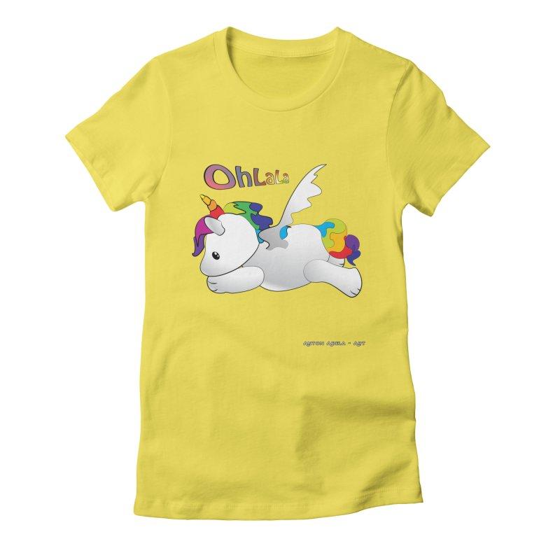 Wee'lil Unicorn Women's Fitted T-Shirt by AntonAbela-Art's Artist Shop