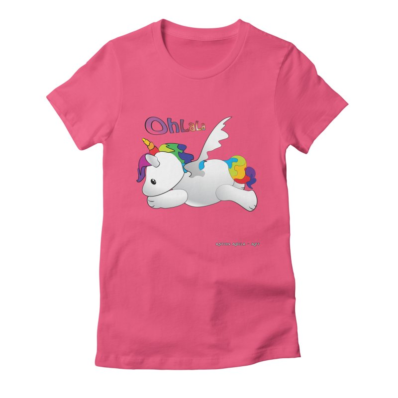 Wee'lil Unicorn Women's Fitted T-Shirt by AntonAbela-Art's Artist Shop