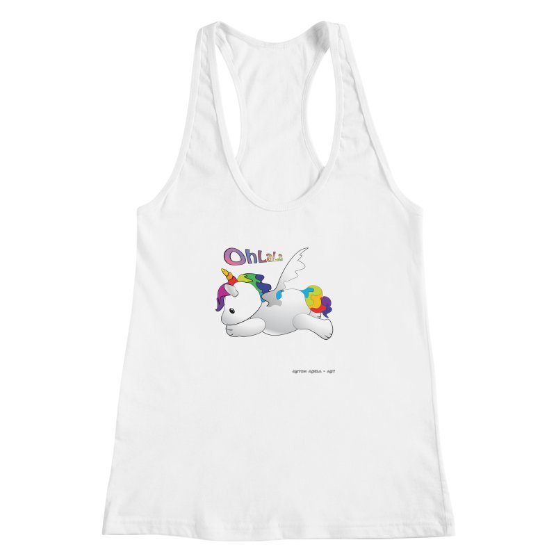 Wee'lil Unicorn Women's Racerback Tank by AntonAbela-Art's Artist Shop