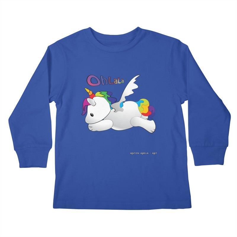 Wee'lil Unicorn Kids Longsleeve T-Shirt by AntonAbela-Art's Artist Shop