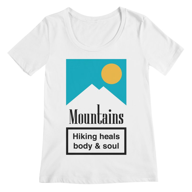 Mountains Women's Regular Scoop Neck by aparaat's artist shop