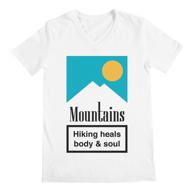 Mountains Men's Regular V-Neck by aparaat's artist shop