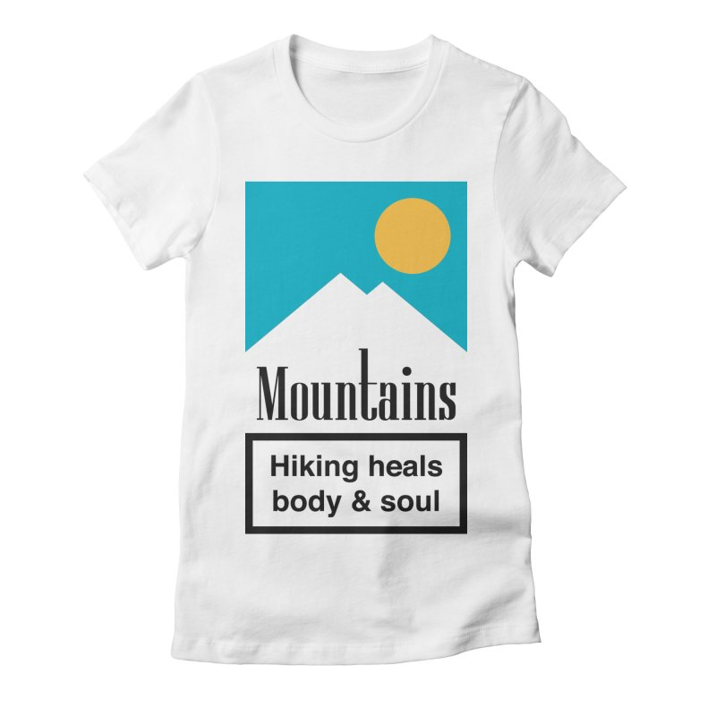 Mountains in Women's Fitted T-Shirt White by aparaat's artist shop
