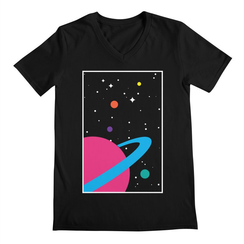 Space Is a Happy Place Men's Regular V-Neck by aparaat's artist shop
