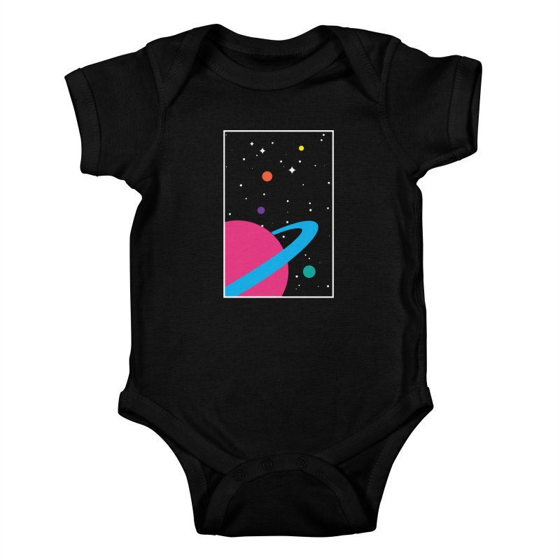 Space Is a Happy Place Kids Baby Bodysuit by aparaat's artist shop