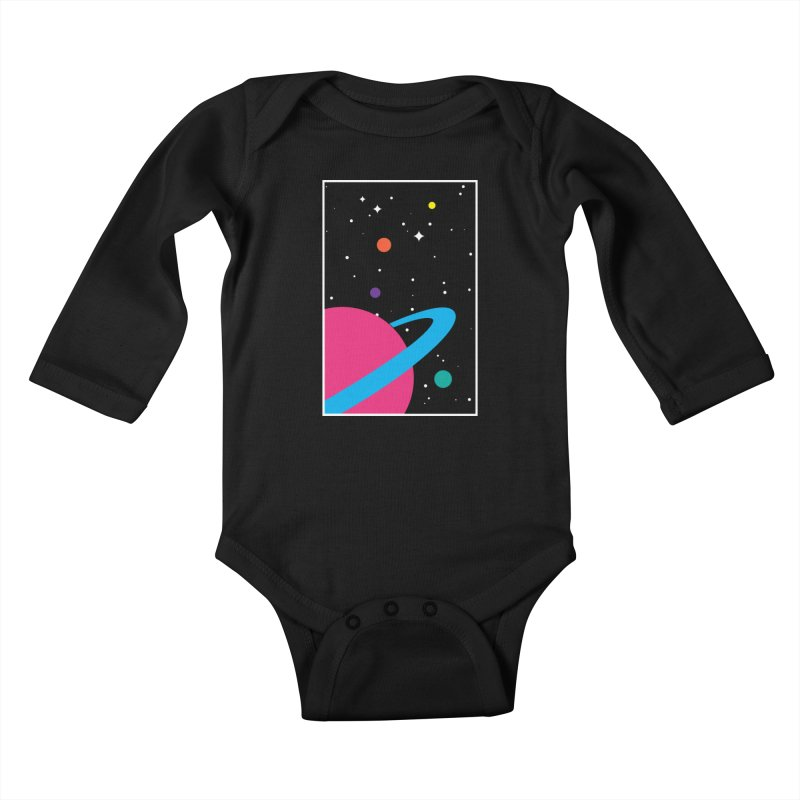 Space Is a Happy Place Kids Baby Longsleeve Bodysuit by aparaat's artist shop