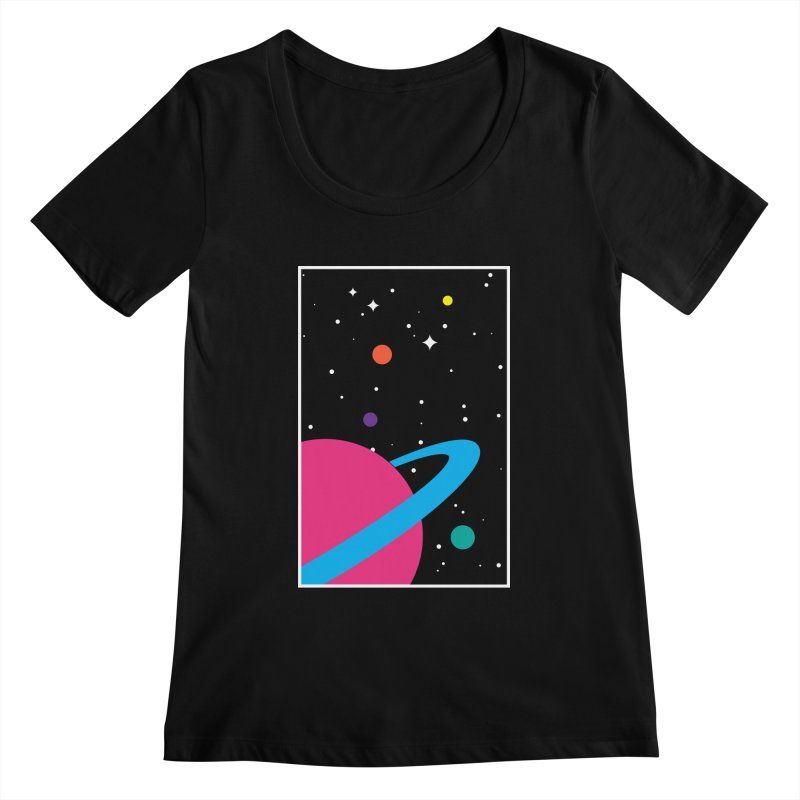 Space Is a Happy Place Women's Scoopneck by aparaat's artist shop