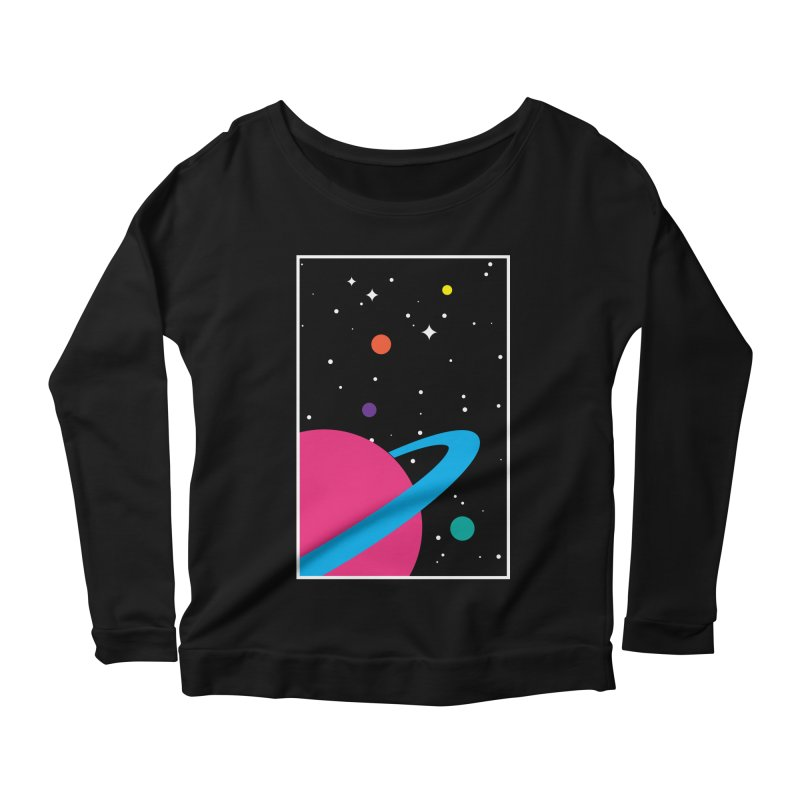 Space Is a Happy Place Women's Longsleeve Scoopneck  by aparaat's artist shop