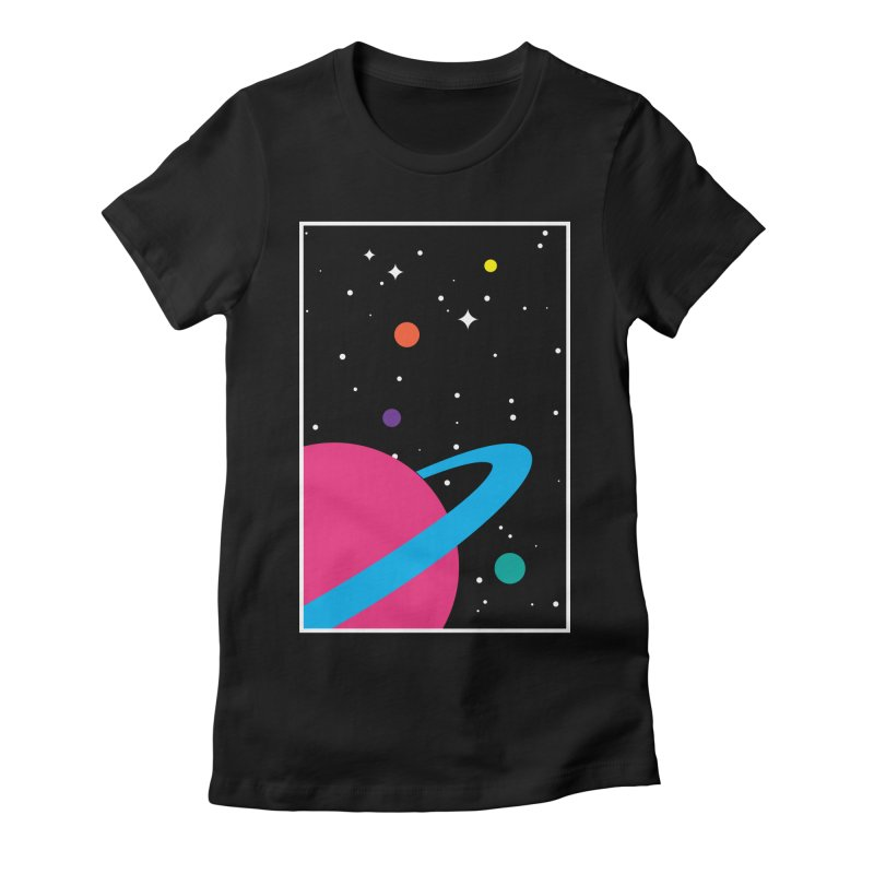 Space Is a Happy Place Women's Fitted T-Shirt by aparaat's artist shop