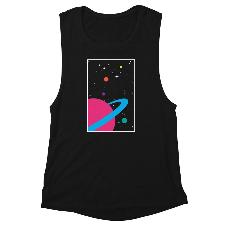 Space Is a Happy Place Women's Muscle Tank by aparaat's artist shop