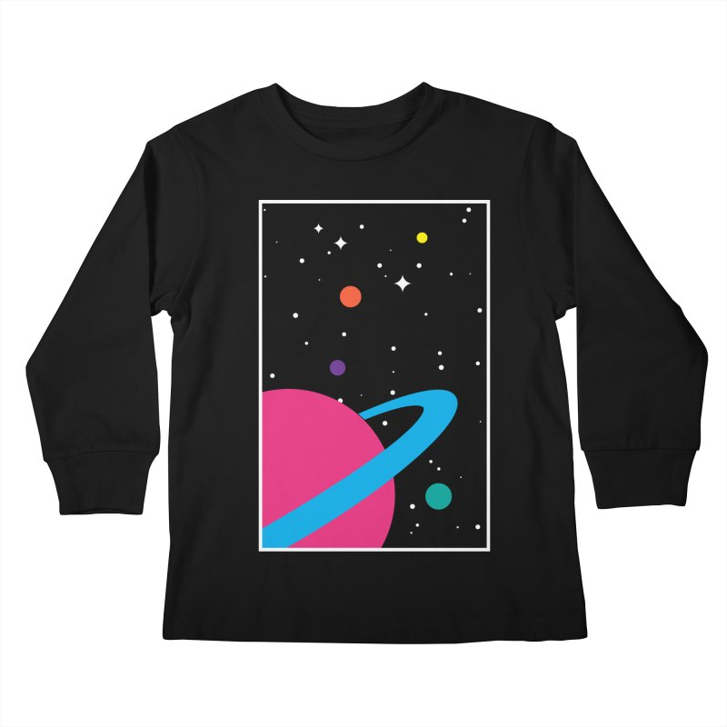 Space Is a Happy Place Kids Longsleeve T-Shirt by aparaat's artist shop