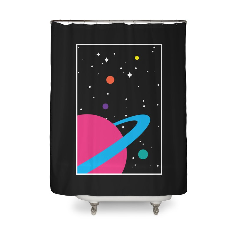 Space Is a Happy Place Home Shower Curtain by aparaat's artist shop