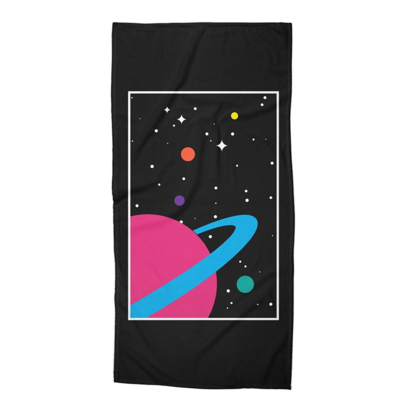 Space Is a Happy Place Accessories Beach Towel by aparaat's artist shop