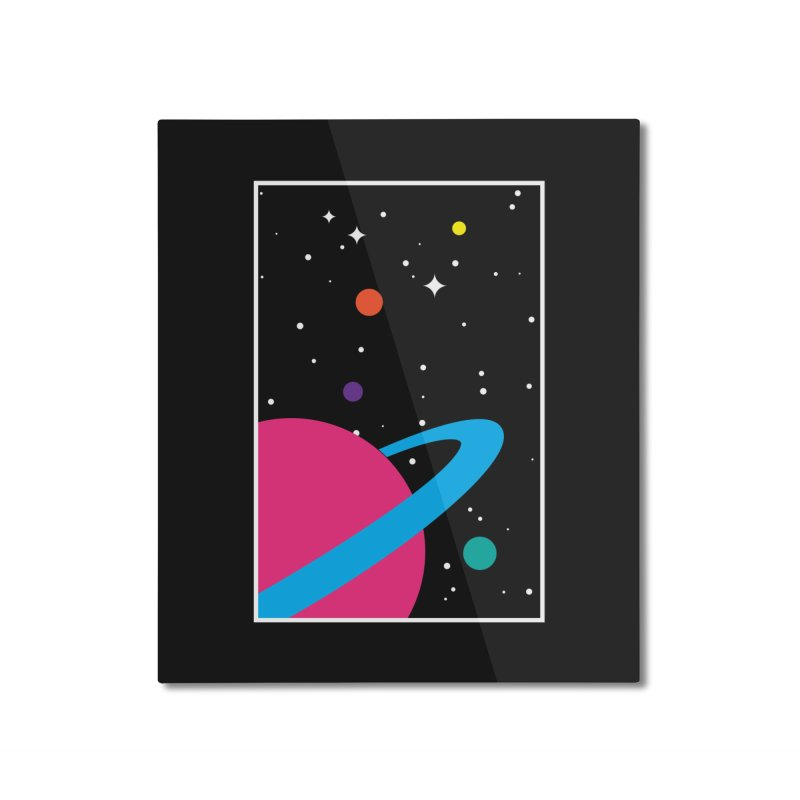 Space Is a Happy Place Home Mounted Aluminum Print by aparaat's artist shop