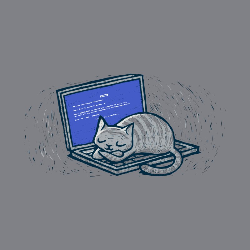 Blue Screen of Cat by Ape Lad's Artist Shop